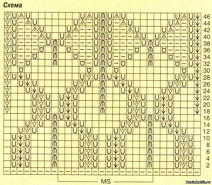 Вязание на спицах перо схема