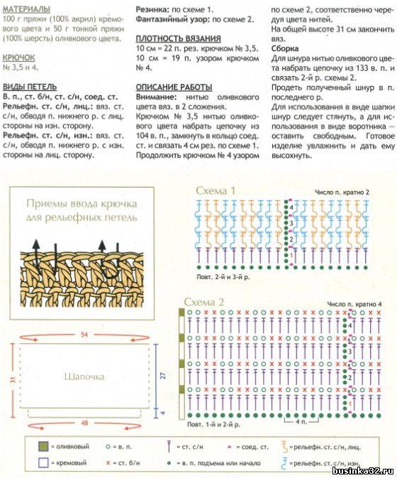 Схемы вязания крючком шапки и снуд 448