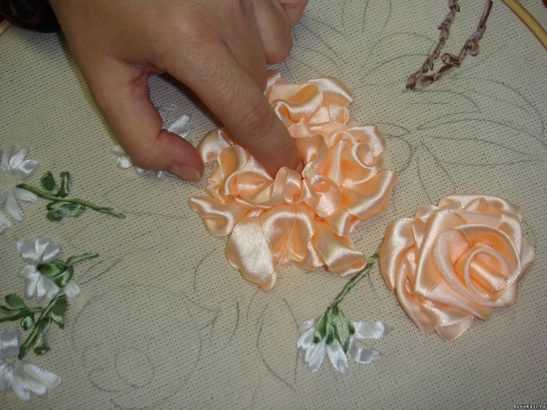 Вышивка лентами как сделать бутон розы