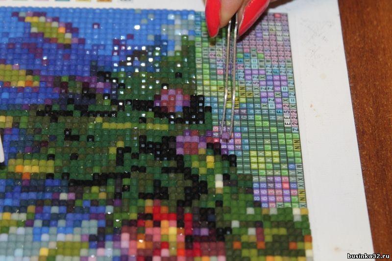 Использование остатков алмазной вышивки