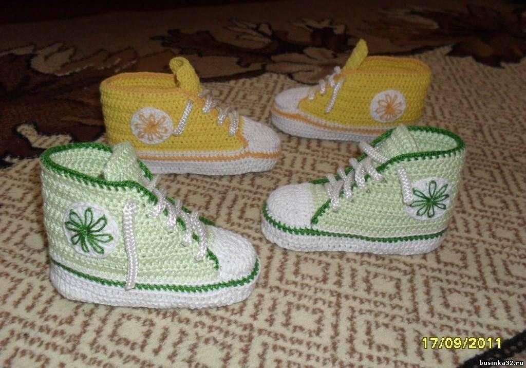 вязанные детские крючком кроссовки