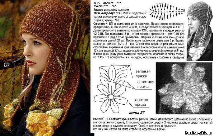 шапка ушанка вязаная травкой. пинетки для мальчика спицами и схемы