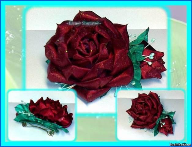 Заколка роза из атласных лент своими руками